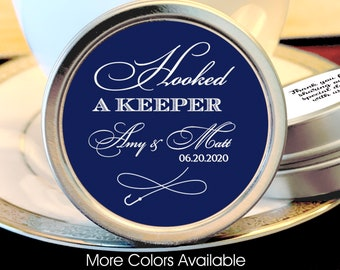 Hooked A Keeper Mint Favors, Personalized Mint Tins, Fishing Theme Favors, Personalized Hunting Favors, Mint Favors, Silver Wedding Favors