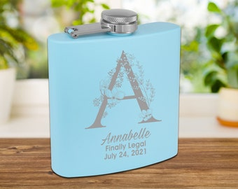 Personalized Matte Baby Blue Flask | Custom Flask | Engraved Pink Flask | Birthday Flask | Wedding Party Gift | Bridesmaid Gift