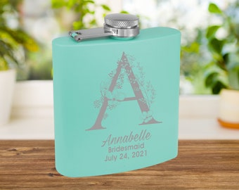 Personalized Matte Teal Flask | Custom Flask | Engraved Pink Flask | Birthday Flask | Wedding Party Gift | Bridesmaid Gift