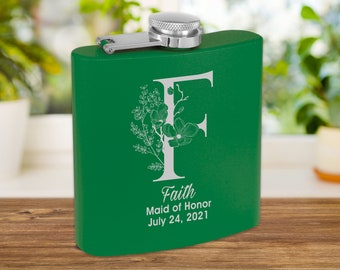 Personalized Matte Green Flask | Custom Flask | Engraved Pink Flask | Birthday Flask | Wedding Party Gift | Bridesmaid Gift