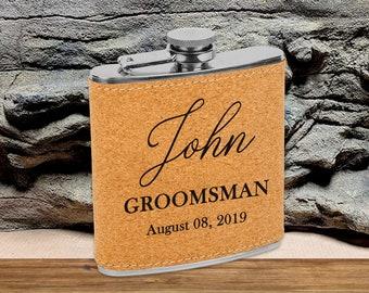 Personalized 6 oz. Cork Flask   Personalized Flask   Groomsmen Flask Set   Groomsmen Gifts   Gifts for Men   Cork Flask Set