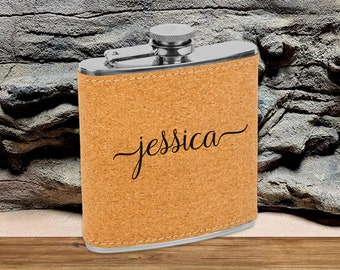 Personalized 6 oz. Cork Flask   Personalized Flask   Bridesmaid Flask Set   Ladies Gifts   Gifts for Women   Bridesmaid Flask