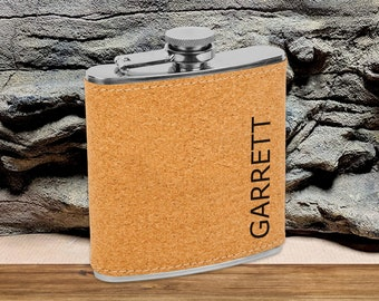 Personalized 6 oz. Cork Flask   Personalized Flask   Groomsmen Flask Set   Groomsmen Gifts   Gifts for Men   Cork Flask Set   Gifts for Him