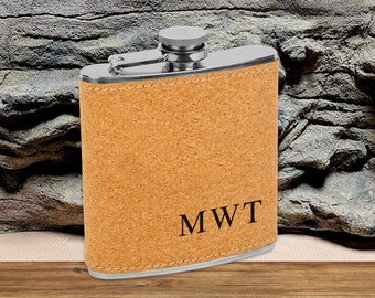 Personalized 6 oz. Cork Flask   Personalized Flask   Groomsmen Flask Set   Groomsmen Gifts   Gifts for Men   Monogram Flask   Cork Flask Set