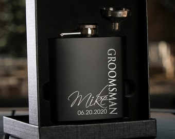 Groomsmen Gift | Personalized Flask Set | Best Man | Groom | Box Set | Proposal | Bachelor Party | Wedding Favors | Matte Black