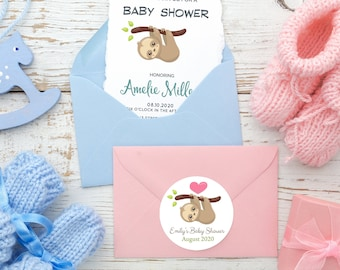 Sloth Baby Shower Stickers | Personalized Baby Sloth Stickers | Baby Shower Favors  | Thank You Stickers  | Sloth and Heart