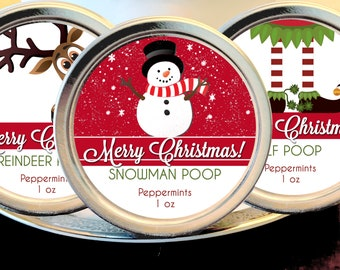 12 Personalized Christmas Mint Favors - Snowman Poop - Elf Poop - Reindeer Poop - Stocking Stuffers, Christmas Party Favor, Christmas Party
