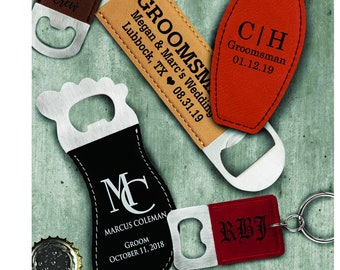 Personalized Leatherette Bottle Openers, Personalized Wedding Favors, Groomsman Gift,  Best man Gift, Grooms Party Gift, Christmas Gifts