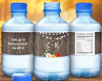 Fall Wedding Water Bottle Labels - Wedding Water Labels - Custom Water Bottle Labels - Carved Heart Initials Wedding Water Bottle Labels