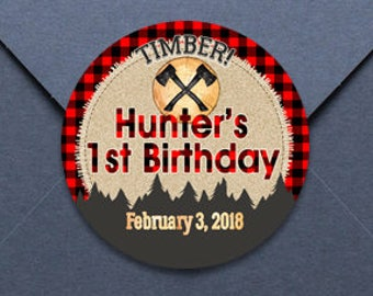 Lumberjack Labels - Personalized Stickers -  Round Stickers - Lumberjack Birthday Stickers - Lumberjack 1st Birthday