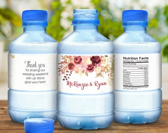 Fall Floral Water Bottle Labels, Personalized Water Bottle Labels, Wedding Labels, Wedding Welcome Bags, Calligraphy Label, Wedding Favor