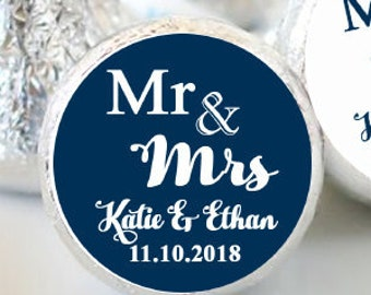 Hershey Kiss® Stickers - Mr and Mrs - Candy Labels - Wedding Kiss Labels - Wedding Favors - Hershey® - Wedding Decor - Kiss Seals
