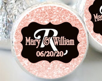 Bridal Shower Hershey Kiss® Stickers - Hershey Kiss Stickers Wedding - Personalized Hershey Kiss Labels - Rose Gold Faux Glitter