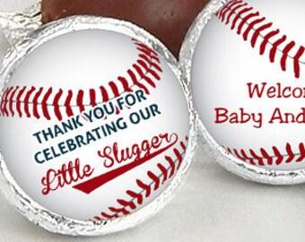 108 Baseball Baby Shower Hershey Kiss® Stickers - Little Slugger Hershey Kiss Stickers- Baby Shower Kiss Labels - Hershey Kiss Seals