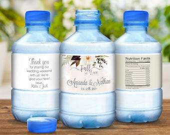 Wedding Water Bottle Labels - 30 Wedding Water Labels - Burgundy Rose and Dahlia - Fall Decor Wedding Favors - 30 Waterproof Bottle Labels