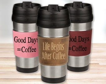 Personalized 16oz Coffee Mug Tumbler, Leather Wrapped, Best Man Gift, Groomsman Gift, Gift for Him, Gift for Dad, Gift for Mom, Gift For Her