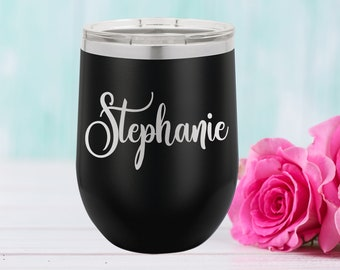 Polar Camel 12 oz. Tumbler with Lid | Personalized Wine Tumbler | Bridesmaid Gift | Christmas Gift | Best Friends Gift | Travel Mug | Black