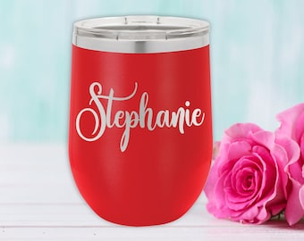 Polar Camel 12 oz. Tumbler with Lid | Personalized Wine Tumbler | Bridesmaid Gift | Christmas Gift | Best Friends Gift | Travel Mug | Red