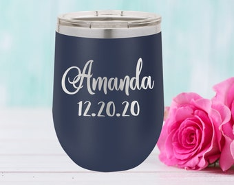 Polar Camel  12 oz.  Tumbler with Lid | Personalized Wine Tumbler | Bridesmaid Gift | Christmas Gift | Best Friends Gift | Travel Mug | Navy