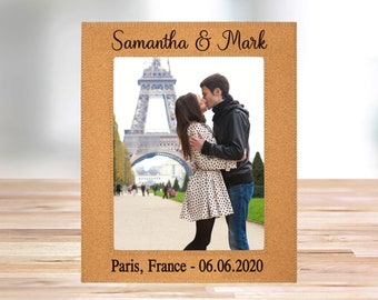 """Personalized  Eco-Friendly Cork Photo Frame, holds 8"""" x 10"""" photograph"""