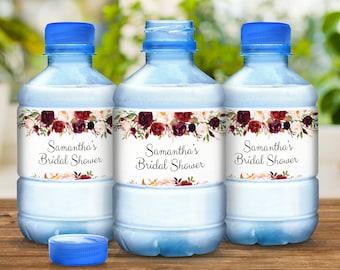 Burgundy Rose Wedding & Bridal Shower Water Bottle Labels - Burgundy Rose Wedding Decor - 30 Waterproof Bottle Labels