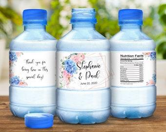 Hydrangea Wedding Bottle Labels, Waterproof Wedding Stickers, Blue Pink Hydrangea Stickers, Waterproof Bottle Wraps, Bottled Water Labels