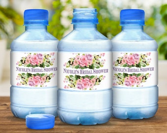 30 Pink Roses Water Bottle Labels for Bridal Showers, Birthdays, Wedding Favors and More