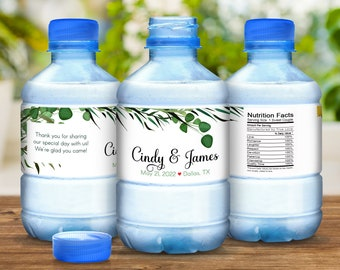 Personalized Botanical Succulents with Vintage Desert Accents Water Bottle Label Wrappers for Weddings, Bridal Showers, Birthdays, and More