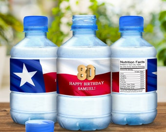 80th Birthday Party Water Bottle Labels - Texas Flag - Lone Star State - 80th Birthday - Birthday Party Decor - Birthday Water Bottle Labels