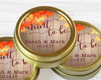 Personalized Gold Tin Mint Fall Leaves Favor - 12 Mint to Be Favor - Bridal Shower Favor - Shower Favor - Autumn Favor - Wedding Favor
