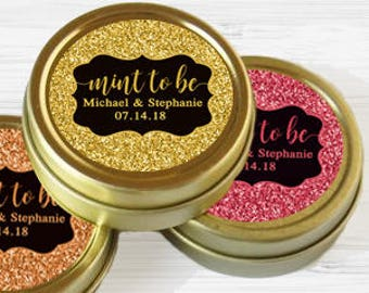 Personalized Gold Glitter Wedding Favors - Faux Glitter - Wedding Favor Tins - Gold Mint Tin Favors - Gold Tin Mints - Mint to Be Favors