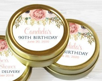 12 Personalized Birthday Mint Tins | Birthday Favor |Personalized Favor | Peach Rose Mint Tins | Mint Tin Favors | Candy Favors | Gold Tins