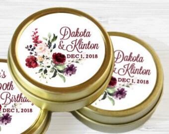 12 Personalized Favor Tins - Gold Favor Tins - Gold Mint Tins - Wedding Favors - Bridal Shower - Birthday - Wedding Decor - Burgundy Rose