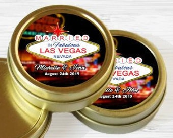 12 Personalized Favor Tins - Gold Favor Tins - Gold Mint Tins - Wedding Favors - Bridal Shower - Wedding Decor - Married in Las Vegas