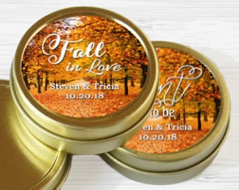 12 Gold Fall Wedding Favors Wedding Mint Tin Favors - Fall Bridal  Decorations - Fall Wedding Mementos -  Gold Round Candy Tins