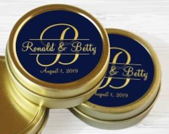 50 Monogram Mint Tins - Wedding Decor - Wedding Favors - Wedding Mints - Monogram - Personalized Wedding Tin Mints - Gold Mint Tins