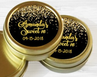 12 Sweet 16 Mint Tins, Personalized Gold Mint Favor Sweet 16 Favor Personalized Birthday Favor, Gold Birthday Favor Tins