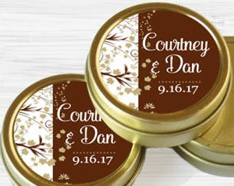 12 Personalized Fall Wedding Favor Tins - Gold Wedding Favor Tins - Gold Mint Tins - Wedding Favors - Mint Favors - Mints
