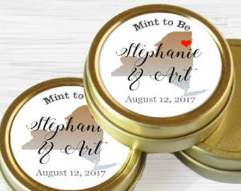Personalized New York State Wedding Favor Tins - Gold Wedding Favor Tins - Gold Mint Tins - Wedding Favors - Mint Favors - Mints