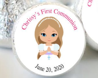 108 First Holy Communion, Kiss Stickers, Girls Holy Communion Stickers, Communion Favors, Party Favors, Candy Kiss Sticker, Pink