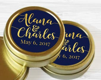 Personalized Names and Date Wedding Favor Tins - Gold Wedding Favor Tins - Mint Tin - Gold Mint Tin Favors - Gold Tin Mints