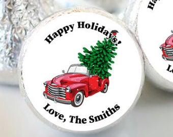 108 Happy Holidays Hershey Kiss® Stickers - Hershey Kiss Stickers Christmas - Hershey Kiss Labels - Merry Christmas - Wedding Christmas