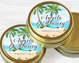 Personalized Tropical Wedding Favor Tins - Gold Wedding Favor Tins - Gold Mint Tins - Wedding Favors - Mint Favors - Mints