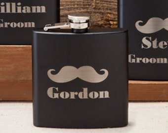 Laser Etched Flask - Black Mustache Flask - In Gift Box - Groomsman Gift - Wedding Party Gift - Best Man Gift - Black Flasks - Christmas