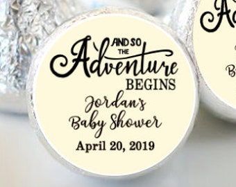 Baby Shower Favors -  The Adventure Begins - Cute Baby Shower Favors - Hershey® Kiss Stickers - Kiss Seals - 108 Stickers
