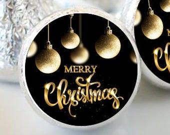 108 Gold Ornaments Christmas Kiss® Stickers - Hershey Kiss Stickers - Kiss Labels - Merry Christmas - Wedding Christmas - Gold Bulbs