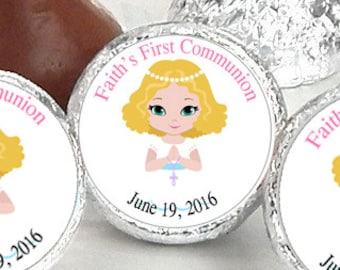 108 First Holy Communion, Kiss Stickers, Girls Holy Communion Stickers, Communion Favors, Party Favors, Kiss Sticker, you pick the color