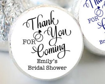 108 Hershey Kiss® Stickers, Thank you for coming, Hershey Kiss Sticker Label, Bridal Shower, Wedding Favors