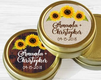 Fall Wedding Favors - Personalized Favors - Gold Wedding Favors - Gold Mint Tins - Wedding Favors - Sunflowers - Wedding Decor