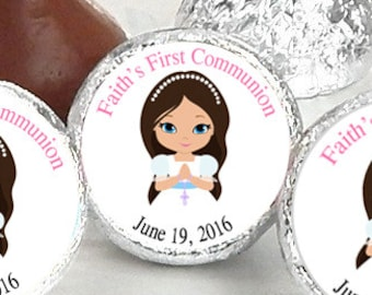 First Holy Communion, Kiss Stickers, Girls Holy Communion Stickers, Communion Favors, Party Favors, Candy Kiss Sticker, Pink (Set of 108)